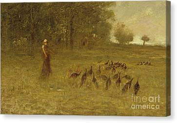Girl With Turkeys Canvas Print by George Fuller