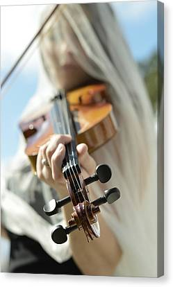 Girl With Violin  Canvas Print by Pamela Patch