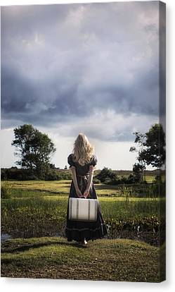 Girl With White Suitcase Canvas Print