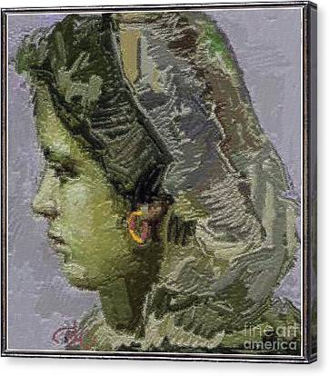 Girl With Yellow Earring Gwye2 Canvas Print by Pemaro