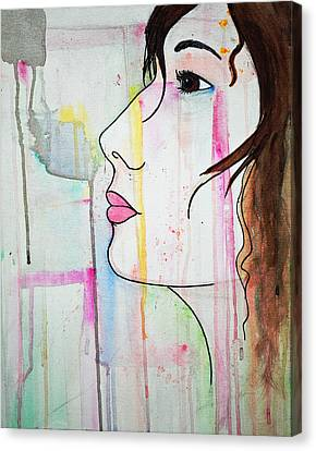 Canvas Print featuring the painting Girl10 by Josean Rivera