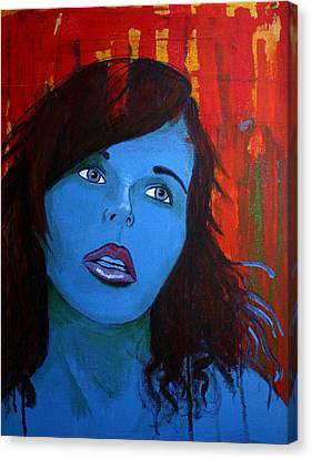 Canvas Print featuring the painting Girl5 by Josean Rivera