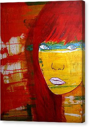 Canvas Print featuring the painting Girl6 by Josean Rivera