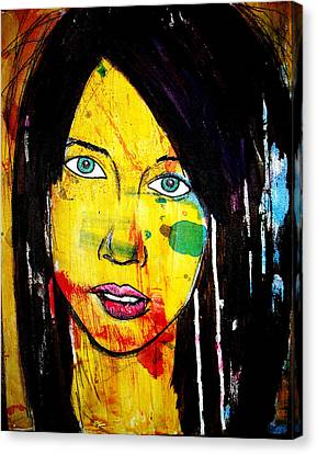 Canvas Print featuring the painting Girl9 by Josean Rivera