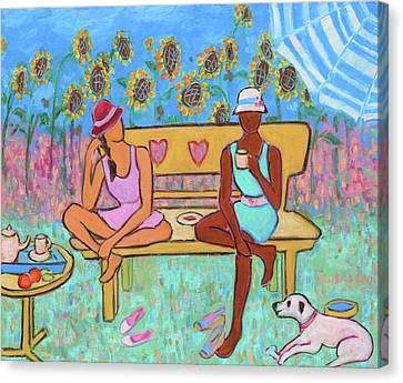 Canvas Print featuring the painting Girlfriends' Teatime IIi by Xueling Zou