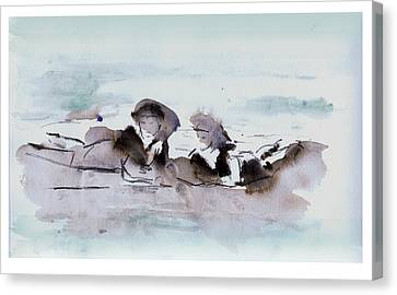 Girls At The Beach Canvas Print by Lori Childers