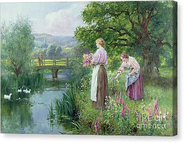 Picking Flowers Canvas Print - Girls Collecting Flowers by Henry John Yeend King
