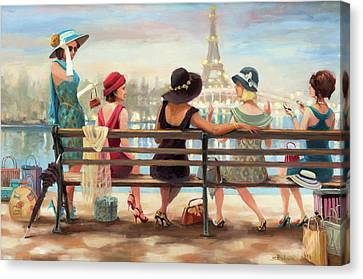 Park Benches Canvas Print - Girls Day Out by Steve Henderson