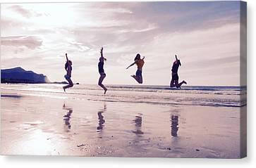 Girls Jumping On Lofoten Beach Canvas Print by Tamara Sushko