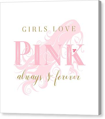Canvas Print featuring the digital art Girls Love Pink Woman Silhouette by Tracie Kaska