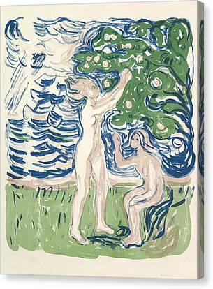 Girls Picking Apples Canvas Print by Edvard Munch
