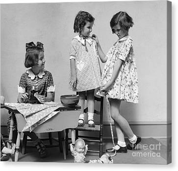 Girls Playing Fashion Designers, C.1930s Canvas Print by H. Armstrong Roberts/ClassicStock