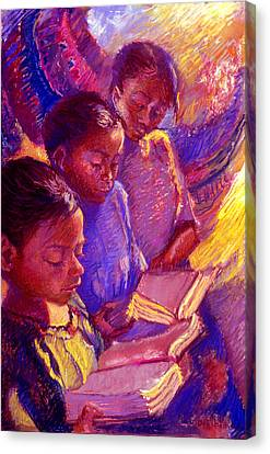 Girls Reading Canvas Print