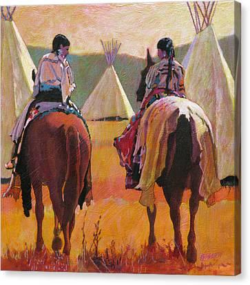 Girls Riding Canvas Print by Robert Bissett