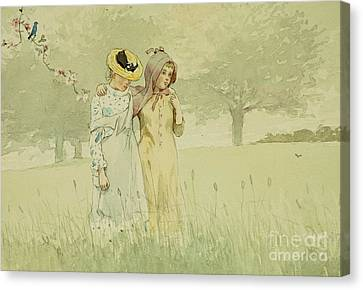Girls Strolling In An Orchard Canvas Print