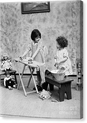 Girls Washing Doll Clothes, C.1920s Canvas Print by H. Armstrong Roberts/ClassicStock