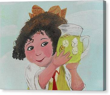 Girls With Lemonade Canvas Print by M Valeriano