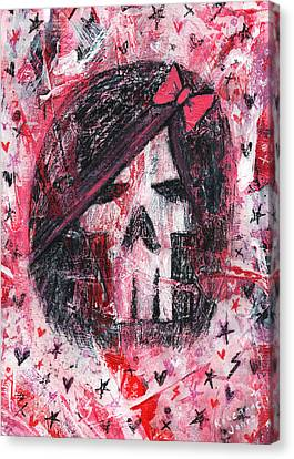 Girly Scene Skull Canvas Print