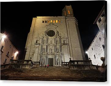 Girona Cathedral At Night Canvas Print by Artur Bogacki