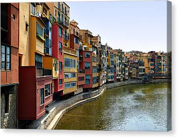 Girona Riverfront Canvas Print by Mathew Lodge