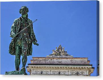 Canvas Print featuring the photograph Giuseppe Tartini Statue - Piran Slovenia by Stuart Litoff