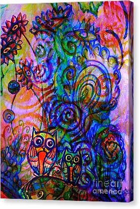 Blending Canvas Print - Give A Whoot In This Crazy Wild World by Kimberlee Baxter