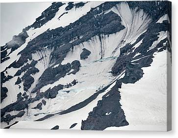 Glacial Fissures On Mount Rainier Canvas Print by Loree Johnson