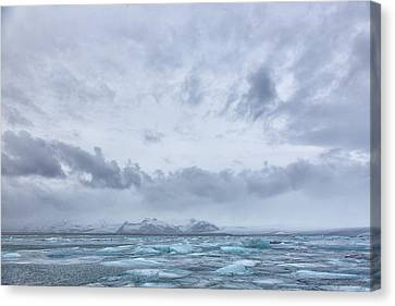 Canvas Print featuring the tapestry - textile Glacial Lagoon Iceland by Kathy Adams Clark
