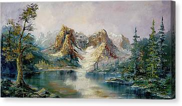 Canvas Print featuring the painting Glacier Lake by Rebecca Kimbel