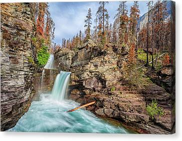 Glacier National Park Chilly Waterfall Canvas Print by Andres Leon