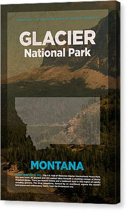 Glacier National Park In Montana Travel Poster Series Of National Parks Number 21 Canvas Print