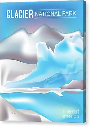 Glacier National Park Vertical Scene Canvas Print by Karen Young
