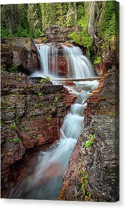 Glacier National Park Waterfall 2 Canvas Print by Andres Leon