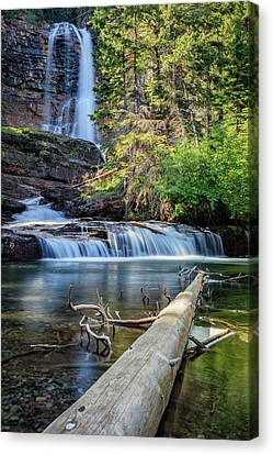 Glacier National Park Waterfall 3 Canvas Print by Andres Leon