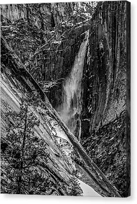 Glacier Point And Yosemite Falls Canvas Print by Bill Gallagher