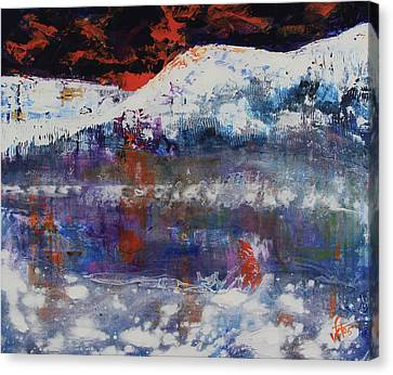 Canvas Print featuring the painting Glacier Reflections by Walter Fahmy