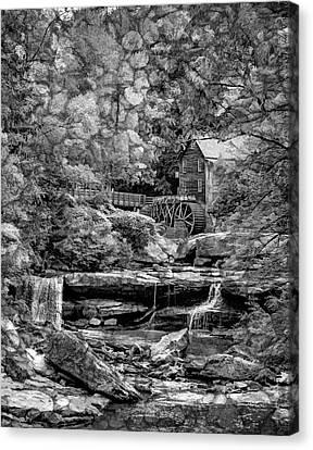 Glade Creek Grist Mill 3 - Overlay Bw Canvas Print by Steve Harrington