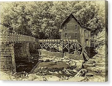 Glade Creek Grist Mill 3 - Sepia Canvas Print