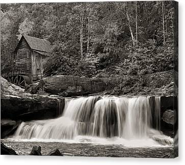 Glade Creek Grist Mill Monochrome Canvas Print by Chris Flees