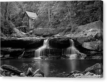Grist Mill Canvas Print - Glade Creek Grist Mill - Cooper's Mill Bw by Gregory Ballos