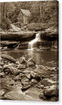 Glade Creek Mill - Babcock State Park - West Virginia - Sepia Canvas Print