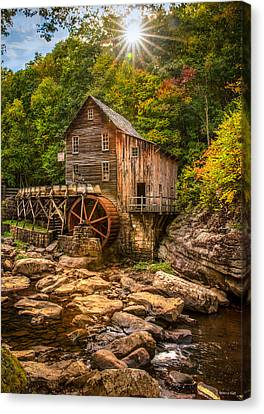 Glade Creek Mill Fall Canvas Print by Rebecca Hiatt
