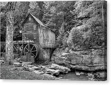Glade Creek Mill In Black And White - Beckley West Virginia Canvas Print