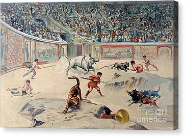 Gladiators Fighting Animals In The Circus At Pompeii Canvas Print by Antonio Niccolini