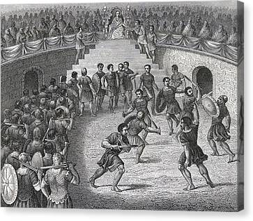 Gladiators Fighting In The Ring In Canvas Print by Vintage Design Pics