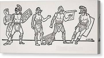 Gladiators, From A Wall Painting At Canvas Print by Vintage Design Pics