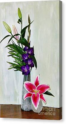 Gladiola And A Star Canvas Print