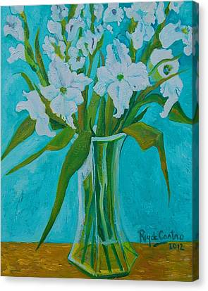 Gladiolas On Blue Canvas Print by Pilar Rey de Castro
