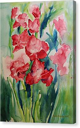 Gladioli Still Life Canvas Print by Geeta Biswas