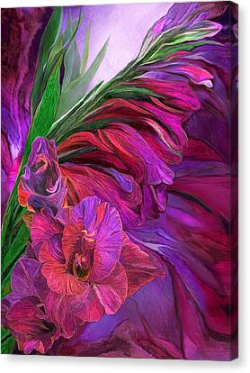 Canvas Print featuring the mixed media Gladiolus In Red by Carol Cavalaris